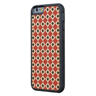 Red, White, Black Diamond Pattern Carved® Maple iPhone 6 Bumper Case