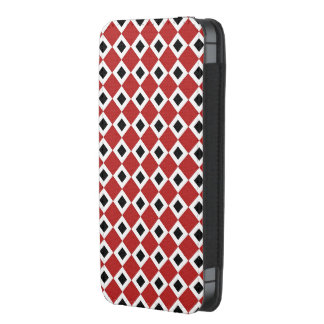 Red, White, Black Diamond Pattern iPhone 5 Pouch