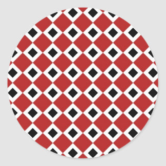 Red, White, Black Diamond Pattern Classic Round Sticker