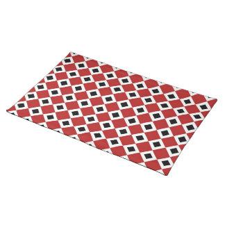 Red, White, Black Diamond Pattern Cloth Placemat