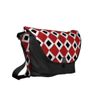 Red, White, Black Diamond Pattern Courier Bag