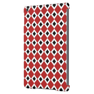 Red, White, Black Diamond Pattern Cover For iPad Air