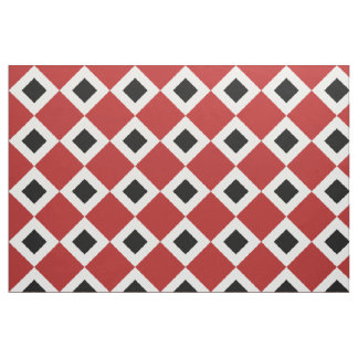 Red, White, Black Diamond Pattern Fabric