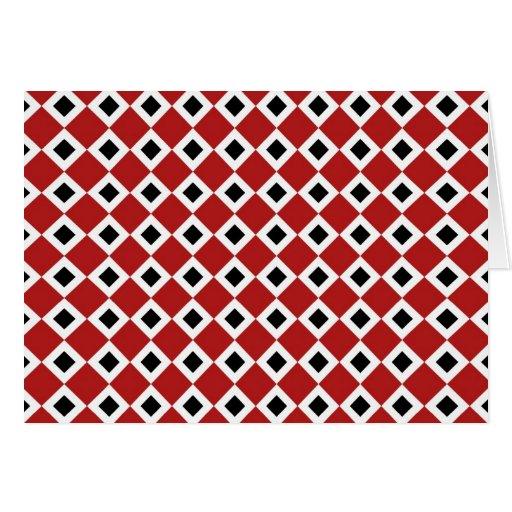 Red, White, Black Diamond Pattern Greeting Card