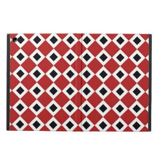 Red, White, Black Diamond Pattern iPad Air Covers
