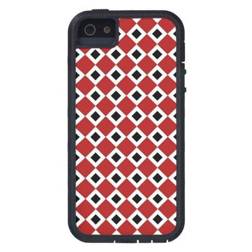Red, White, Black Diamond Pattern iPhone SE/5/5s Case
