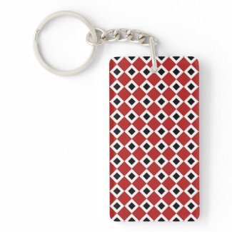 Red, White, Black Diamond Pattern Acrylic Keychains