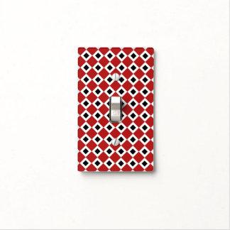 Red, White, Black Diamond Pattern Light Switch Plate