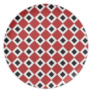 Red, White, Black Diamond Pattern Melamine Plate