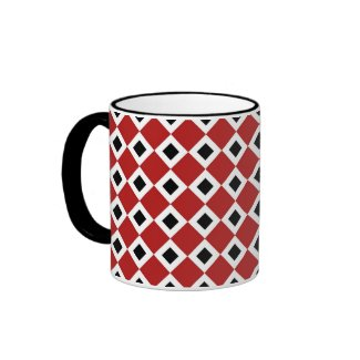 Red, White, Black Diamond Pattern Mugs