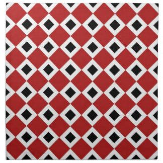 Red, White, Black Diamond Pattern Napkin