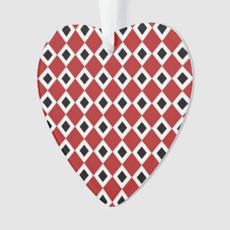 Red, White, Black Diamond Pattern Ornament