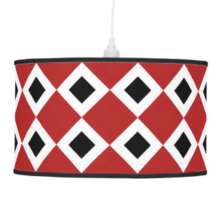 Red, White, Black Diamond Pattern Pendant Lamp
