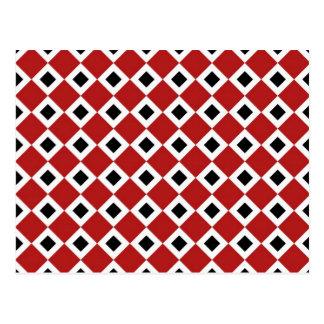 Red, White, Black Diamond Pattern Postcard
