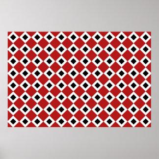 Red, White, Black Diamond Pattern Poster