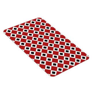 Red, White, Black Diamond Pattern Rectangular Photo Magnet