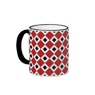 Red, White, Black Diamond Pattern Ringer Mug