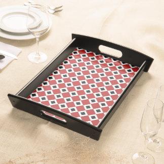 Red, White, Black Diamond Pattern Serving Tray