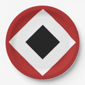 Red, White, Black Diamond Pattern 9 Inch Paper Plate