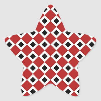 Red, White, Black Diamond Pattern Star Sticker
