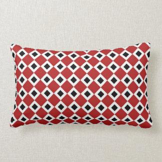 Red, White, Black Diamond Pattern Throw Pillow