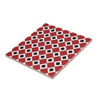 Red, White, Black Diamond Pattern Tile