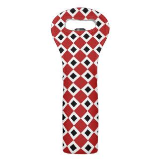 Red, White, Black Diamond Pattern Wine Bag