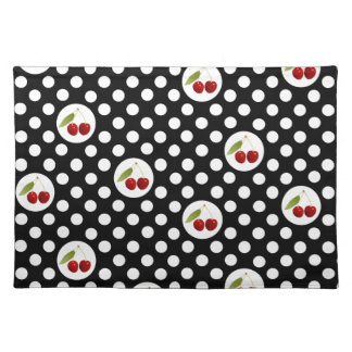 Red ,White & Black Dots and Cherries Place Mat Cloth Placemat