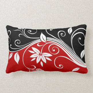 Red  White & Black Floral Lumbar Pillow