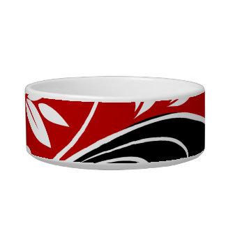 Red White Black Floral Pet Water Bowl