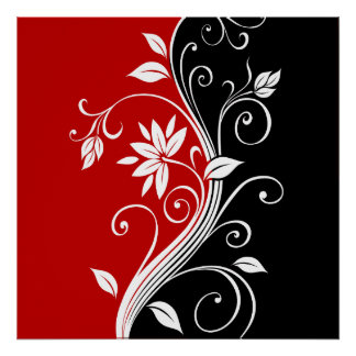 Red  White & Black Floral Poster