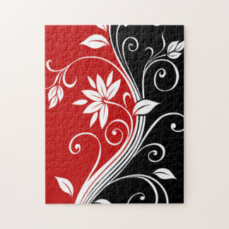 Red  White & Black Floral Puzzles