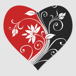 Red  White & Black Floral Heart Sticker