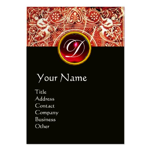 RED WHITE BLACK FLORAL SWIRLS AND ANGELS BUSINESS CARDS