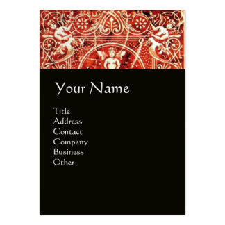 RED WHITE BLACK FLORAL SWIRLS AND ANGELS BUSINESS CARD TEMPLATES