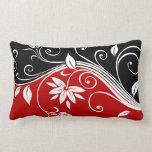 Red  White & Black Floral Throw Pillows