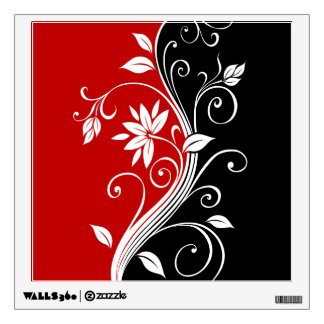 Red  White & Black Floral Wall Sticker