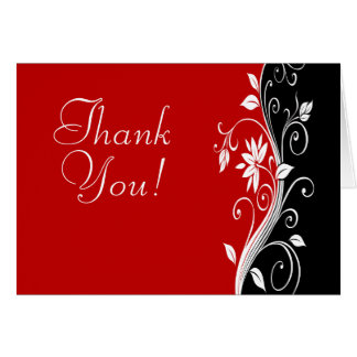 Red  White & Black Floral Wedding Thank You Card