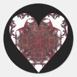 Red, White Black Fractal Heart Classic Round Sticker
