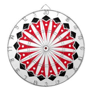 Red White Black Geometric Dartboards