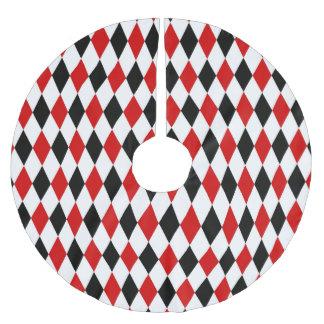 Red White Black Harlequin Diamond Pattern Brushed Polyester Tree Skirt
