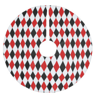 Red White Black Harlequin Diamond Pattern Brushed Polyester Tree Skirt