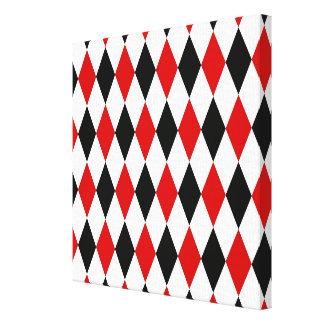 Red White Black Harlequin Diamond Pattern Canvas Print