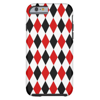 Red White Black Harlequin Diamond Pattern Tough iPhone 6 Case
