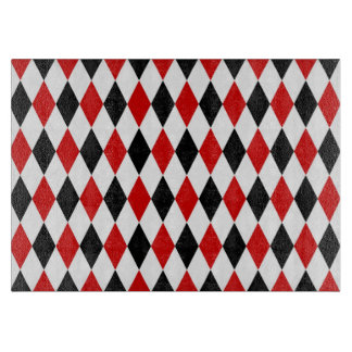 Red White Black Harlequin Diamond Pattern Cutting Boards
