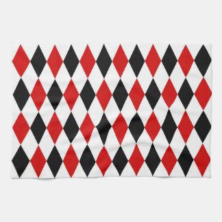 Red White Black Harlequin Diamond Pattern Hand Towel