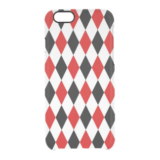 Red White Black Harlequin Diamond Pattern Uncommon Clearly™ Deflector iPhone 6 Case