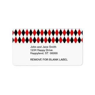 Red White Black Harlequin Diamond Pattern Personalized Address Label