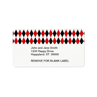Red White Black Harlequin Diamond Pattern Address Label