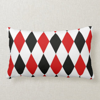 Red White Black Harlequin Diamond Pattern Lumbar Pillow